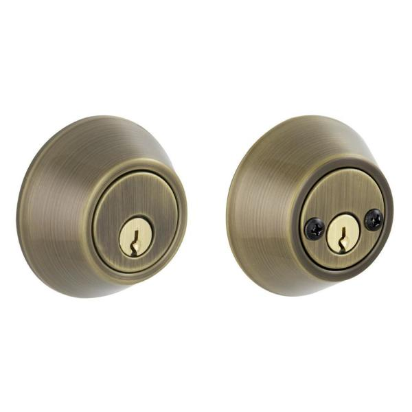 Essentials By Schlage Antique Brass Double Cylinder Deadbolt Vd62 V 609 The Home Depot
