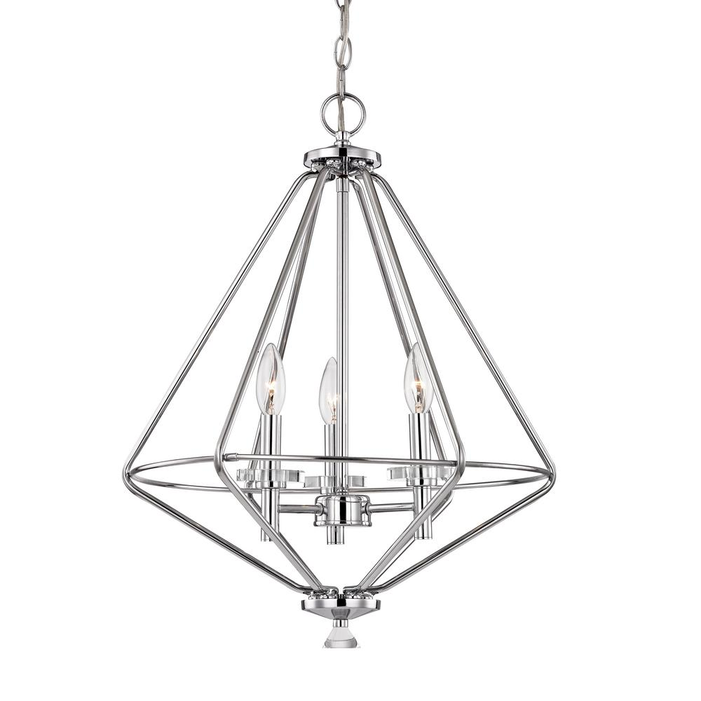 Marin 3 Light Polished Chrome Pendant With Crystal Accents