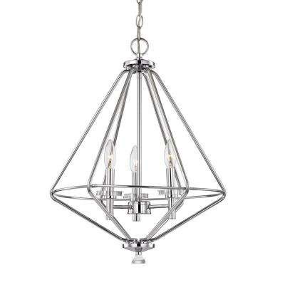 Marin 3-Light Polished Chrome Pendant with Crystal Accents