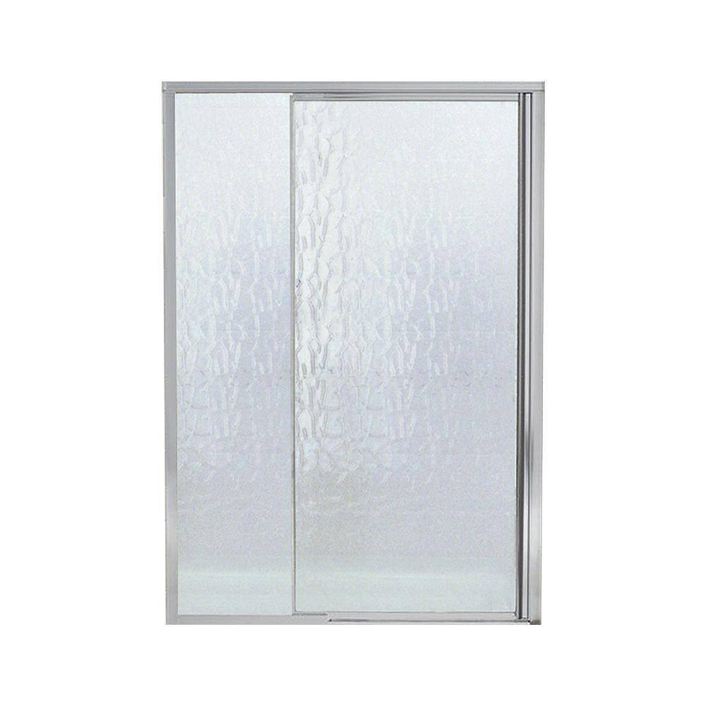 STERLING Vista Pivot II 48 in. x 65-1/2 in. Framed Pivot Shower Door in Silver with Moraine Glass Texture-DISCONTINUED