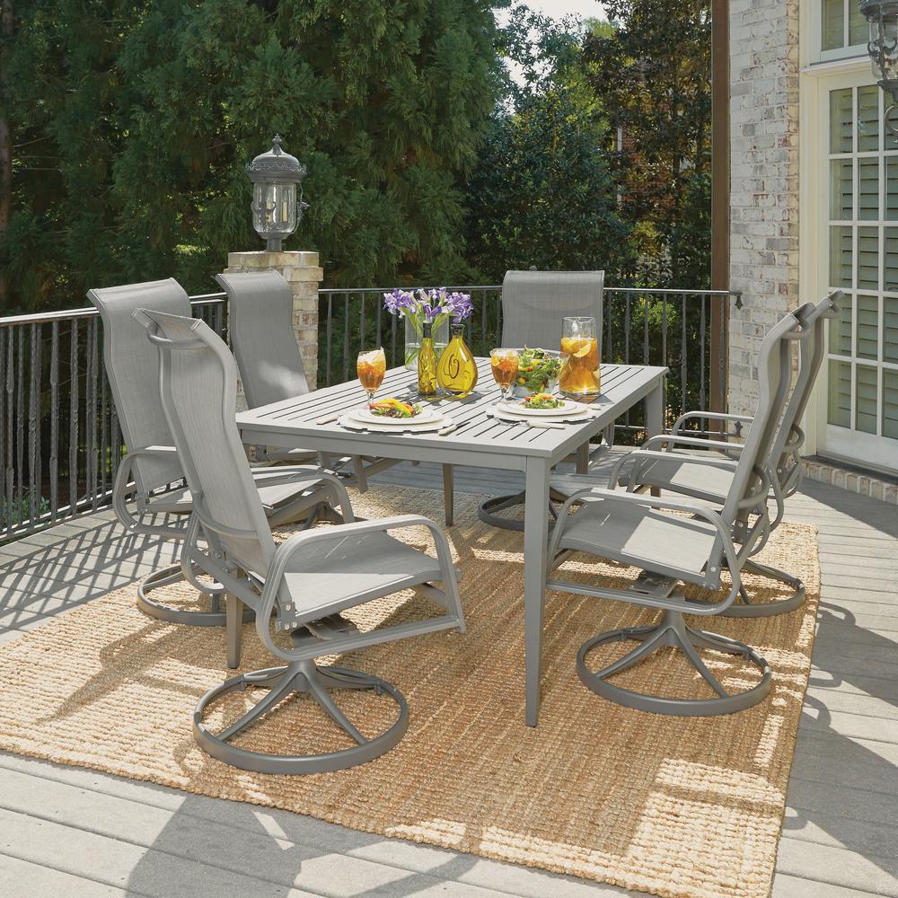 Daytona Charcoal Gray 7-Piece Aluminum Rectangular Outdoor Dining Set
