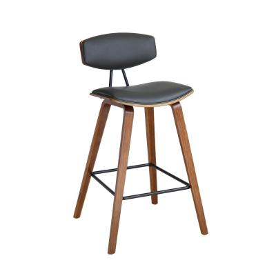 Fox Walnut Wood 30 in. Mid-Century Bar Height Bar Stool in Gray Faux Leather