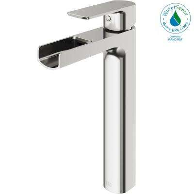 Amada Single Hole Single-Handle Vessel Bathroom Faucet in Brushed Nickel