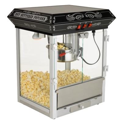 Carnival Style 8 oz. Black Countertop Popcorn Machine