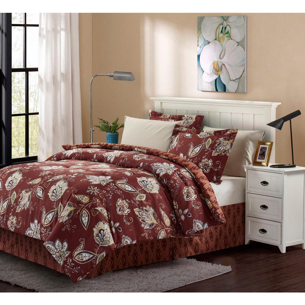 Brown & Grey Joanna Brick Twin 6-Piece Bed-In-Bag Set BG16JNBR1