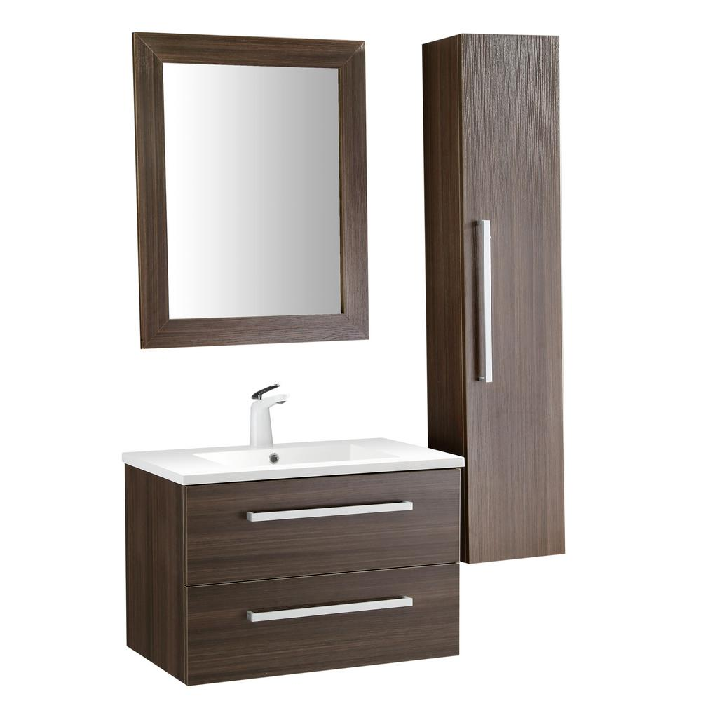 ANZZI Conques 30 in. W x 20 in. H Bath Vanity in Rich Brown with Ceramic Vanity Top in White with White Basin and Mirror
