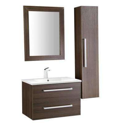 Conques 30 in. W x 20 in. H Bath Vanity in Rich Brown with Ceramic Vanity Top in White with White Basin and Mirror
