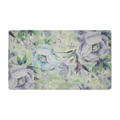 Francesca Teal 20 in. x 32 in. PVC Anti-Fatigue Comfort Kitchen Mat