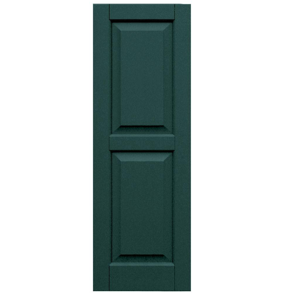 Winworks Wood Composite 15 in. x 44 in. Raised Panel Shutters Pair #633 Forest Green