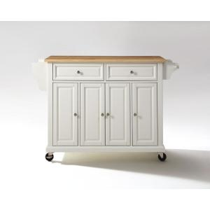 Full Size White Kitchen Cart with Natural Wood Top
