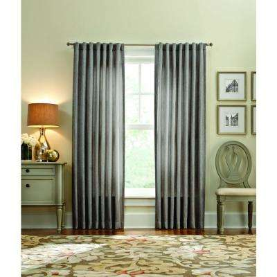 Semi-Opaque Tweed Thermal 95 in. L Polyester Curtain Panel in Pewter