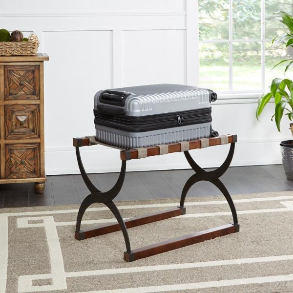 Silverwood Furniture Reimagined Cooper Mixed Material Luggage Black and Brown