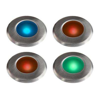 Low Voltage LED Stainless Steel Multi Color Integrated LED Deck Light 4 Pack Add on Kit