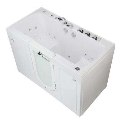 Tub4Two 60 in. Walk-In Whirlpool and Air Bath Bathtub in White RH Outward Door Heated Seat Fast Fill Faucet Dual Drain