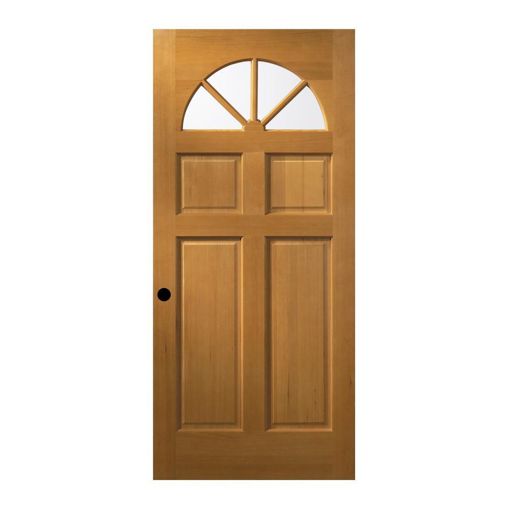 jeld wen 32 in x 80 in unfinished fan lite clear wood front door