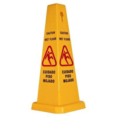 Bright 4-Sided Caution Safety Cone