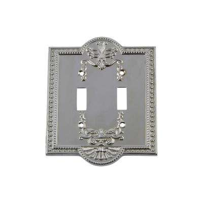 Meadows Switch Plate with Double Toggle in Bright Chrome