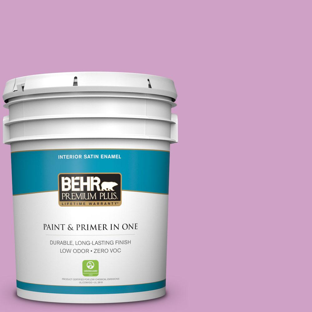 BEHR Premium Plus 5-gal. #670B-4 Geranium Bud Zero VOC Satin Enamel Interior Paint