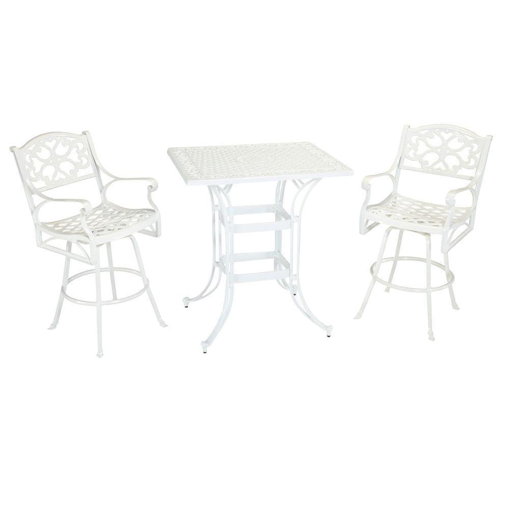 Home Styles Biscayne White 3-Piece Rectangular Patio Bistro Set