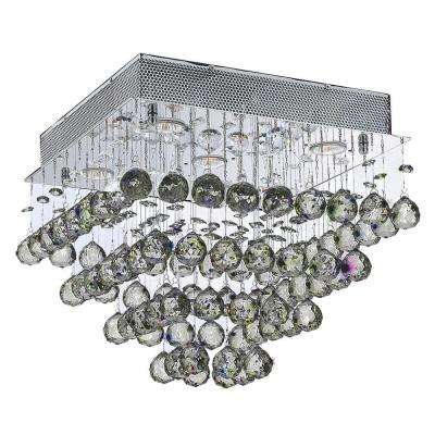 Icicle Collection 5 Light Crystal and Chrome Ceiling Light