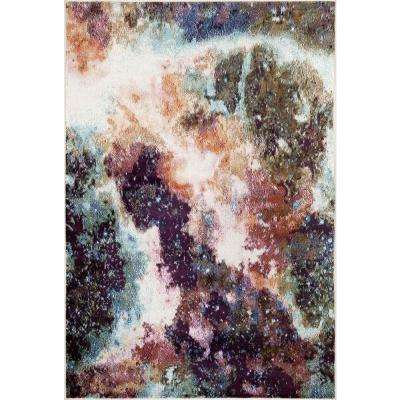 Distressed Abstract Multi 5 ft. 3 in. x 7 ft. 3 in. Indoor Area Rug