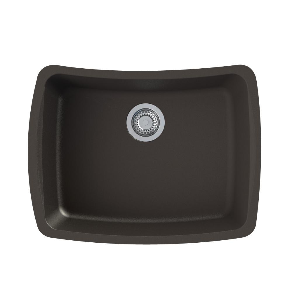 Genova Undermount Granite 25 in. Single Bowl Kitchen Sink in Espresso