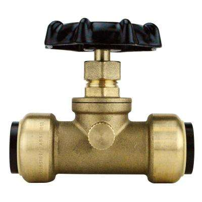 3/4 in. Brass Push-To-Connect Stop Valve with Drain