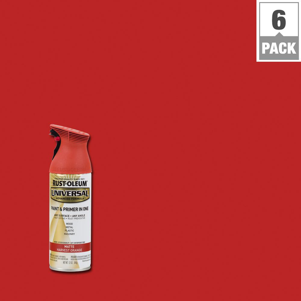 Rust-Oleum Universal 12 oz. All Surface Matte Harvest Orange Spray Paint and Primer in One (6-Pack)