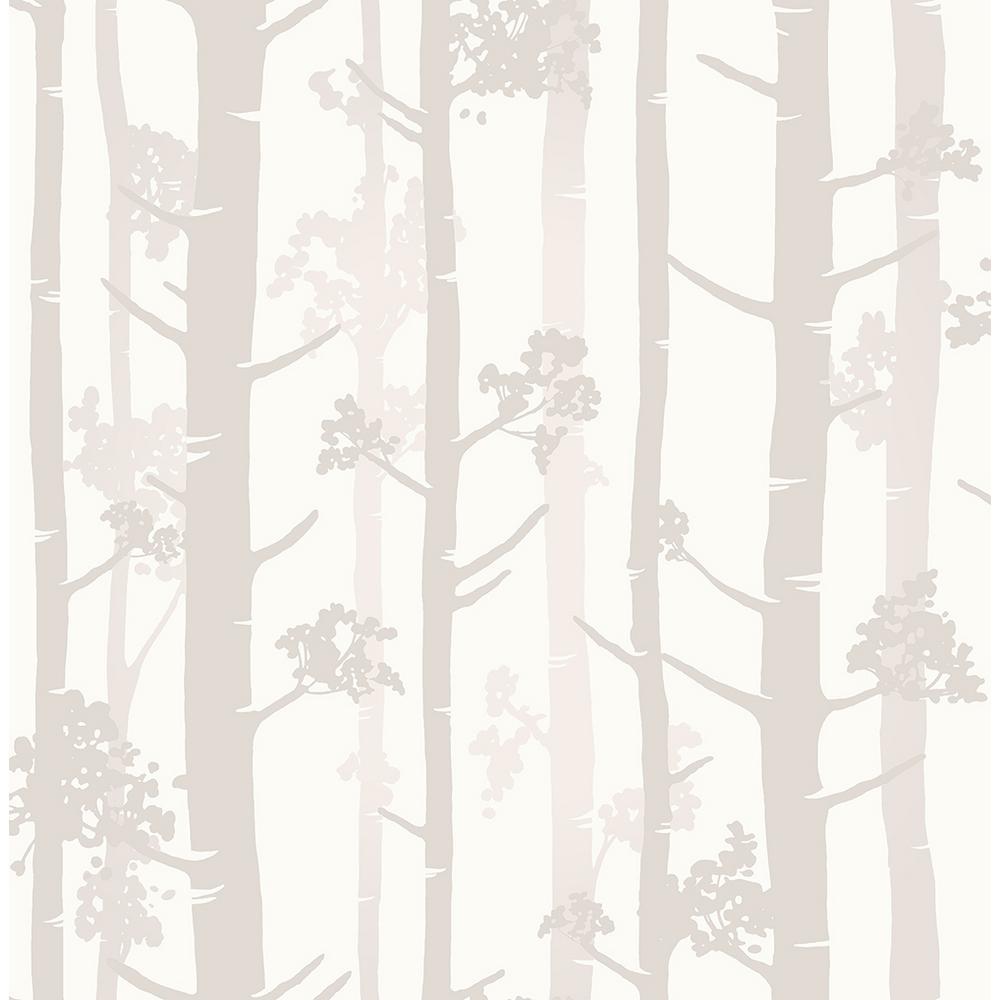 Brewster 8 in. x 10 in. Sydow Beige Birch Tree Wallpaper
