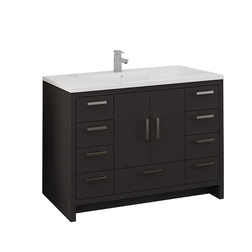 Imperia 48 in. Modern Bathroom Vanity in Dark Gray Oak with Vanity Top in White with White Basin