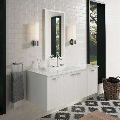 Jute 48 in. Vanity in Linen White with Marble Vanity Top in Carrara with White Basin