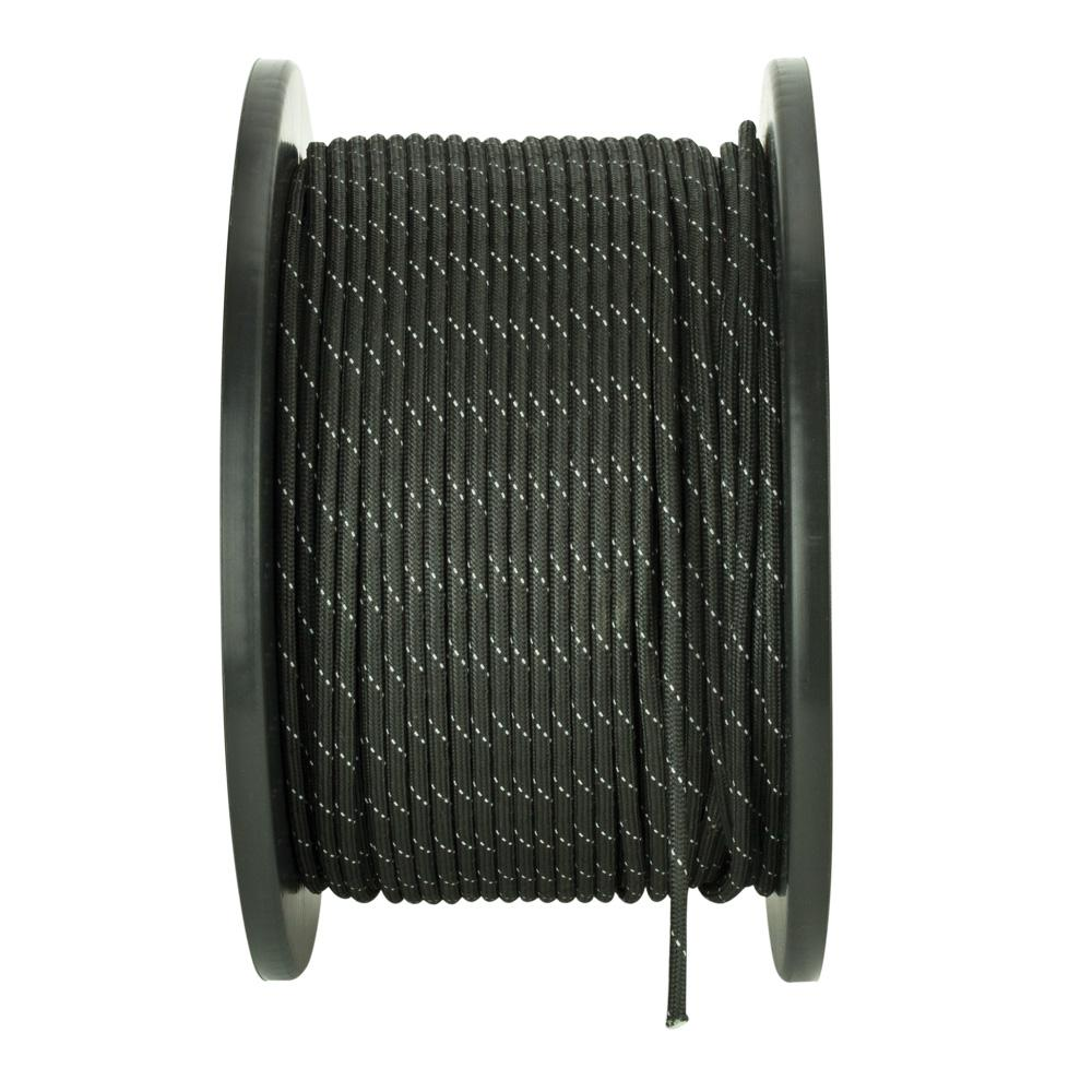 1/8 in. x 500 ft. Reflective Black Paracord