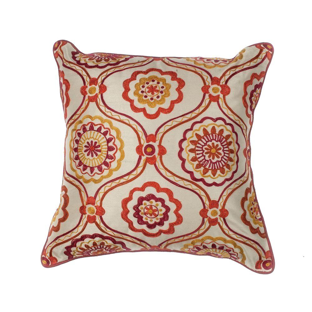 Kas Rugs Chesterfield Ivory Red Decorative Pillow Pill12218sq The
