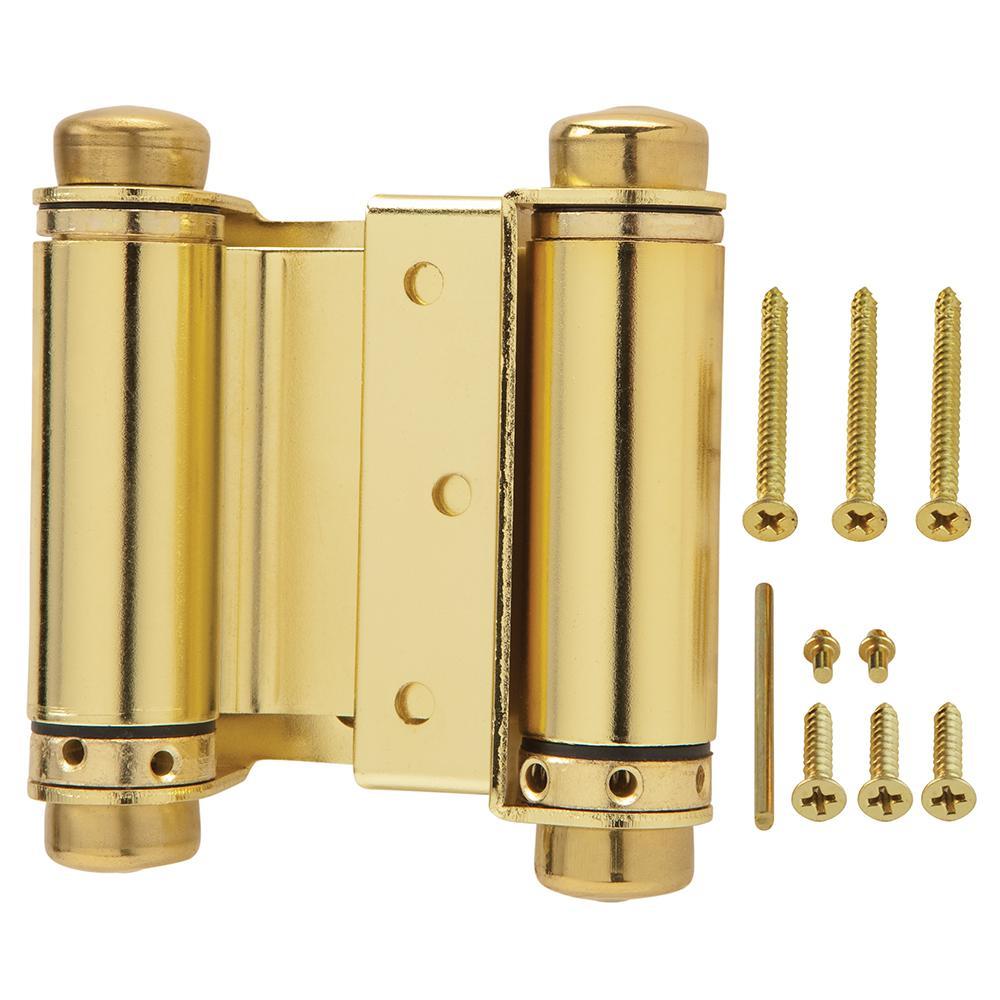 3 in. Bright Brass Double-Action Spring Door Hinge