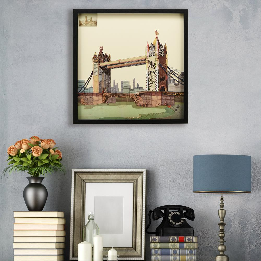 London bridge dimensional collage framed graphic art