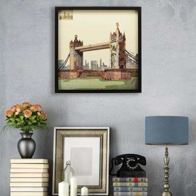"""25 in. x 25 in. """"London Bridge"""" Dimensional Collage Framed Graphic Art Under Glass Wall Art"""