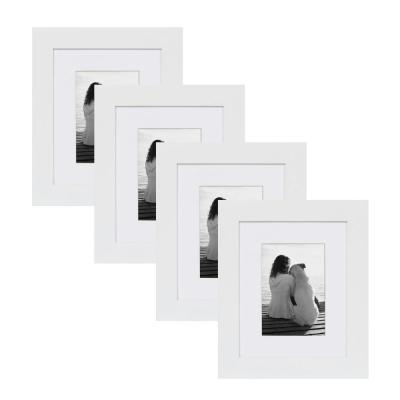 Museum 8 in. x 10 in. Matted to 5 in. x 7 in. White Picture Frame (Set of 4)