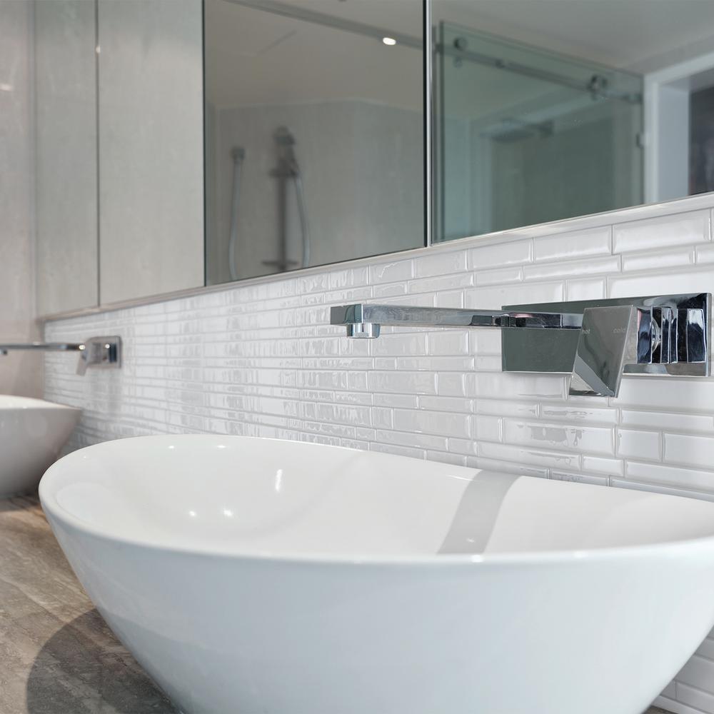 Milano Blanco Approximately 3 in. W x 3 in. H White Self-Adhesive Decorative Mosaic Wall Tile Backsplash Sample