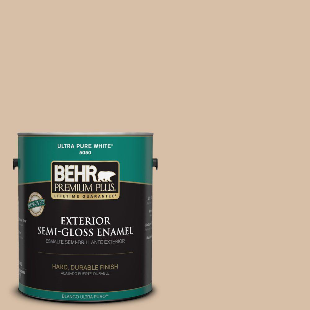 1-gal. #HDC-SM14-3 Concept Beige Semi-Gloss Enamel Exterior Paint
