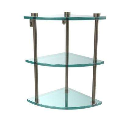 8 in. L  x 15 in. H  x 8 in. W 3-Tier Corner Clear Glass Bathroom Shelf in Antique Pewter