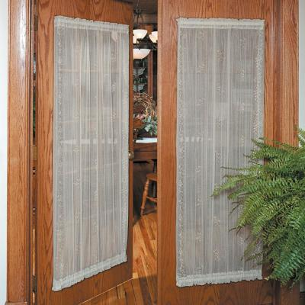 Sheer Divine 42 in. W x 72 in. L Lace Door Panel in Flax