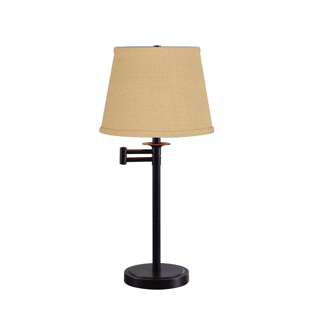 Sheppard 25 in. Bronze Indoor Accent Lamp with Gold Shade