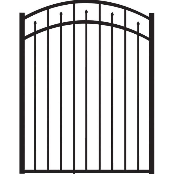 Brilliance Standard-Duty 4 ft. W x 4.5 ft. H Black Aluminum Arched Pre-Assembled Fence Gate