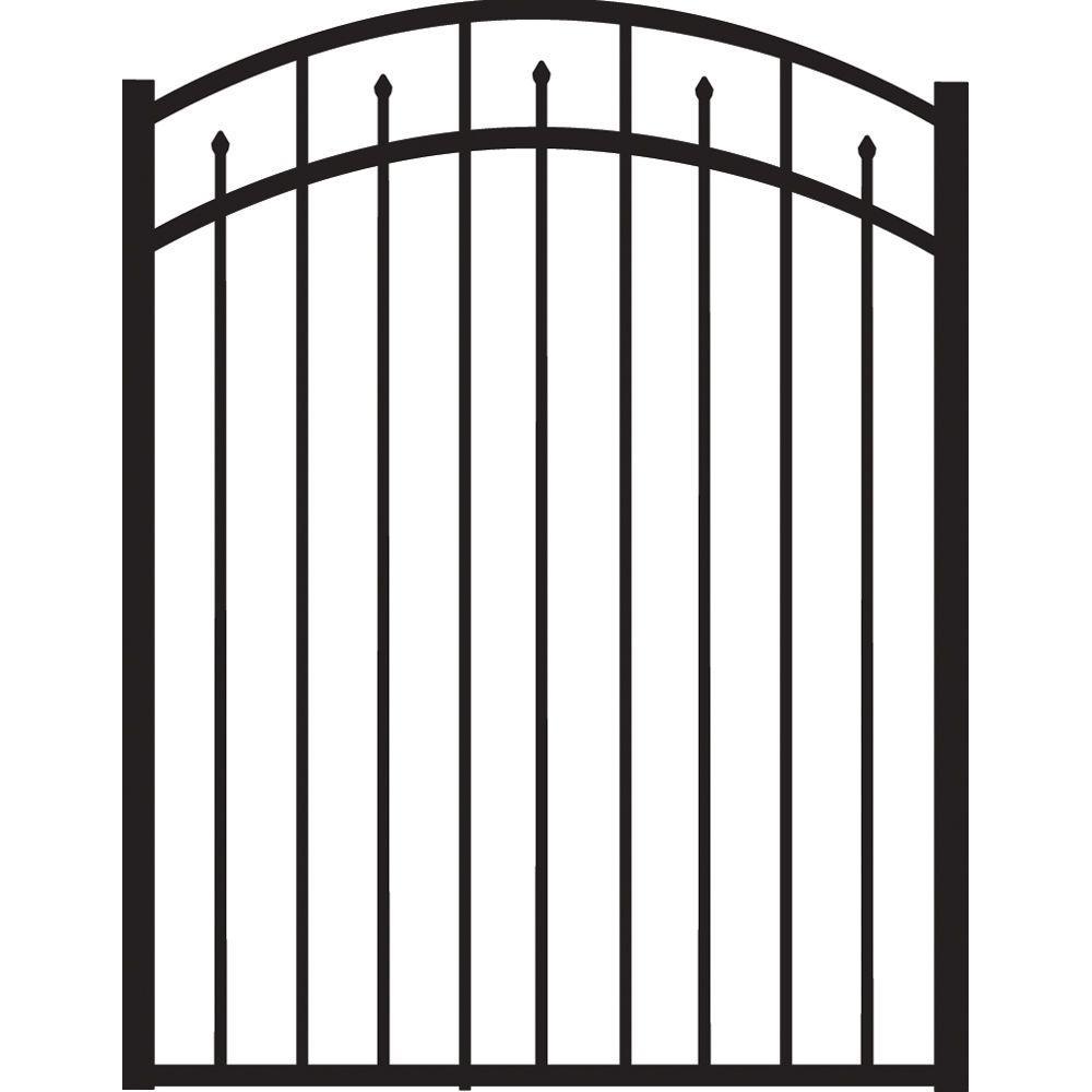 Brilliance Standard-Duty 4 ft. W x 4.5 ft. H Black Aluminum Arched Pre-Assembled Fence Gate