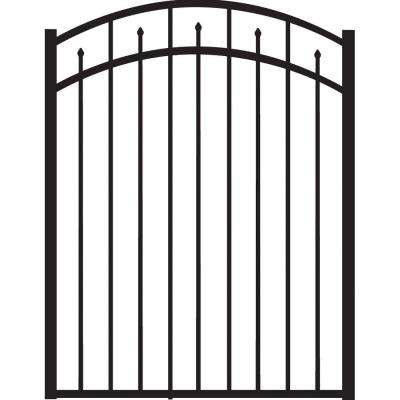 Brilliance Standard-Duty 4 ft. W x 4 ft. H Black Aluminum Arched Pre-Assembled Fence Gate