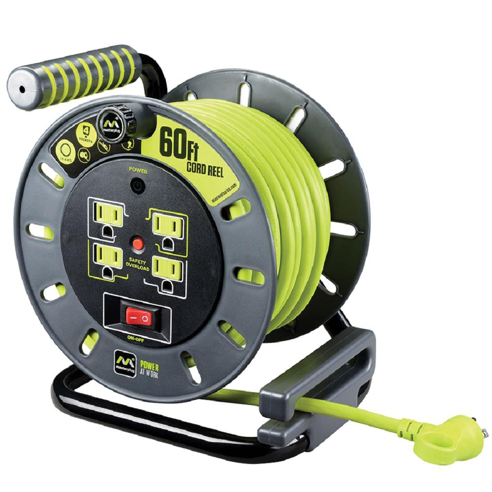 60 ft. 14/3 Open Cord Reel with 4-Outlets