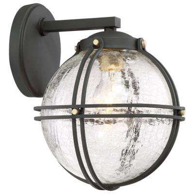 Rond 1-Light Black with Honey Gold Highlights Outdoor Wall Lantern Sconce with Clear Crackle Glass