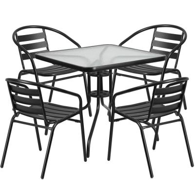 5-Piece Glass Square Outdoor Bistro Set in Clear/Black