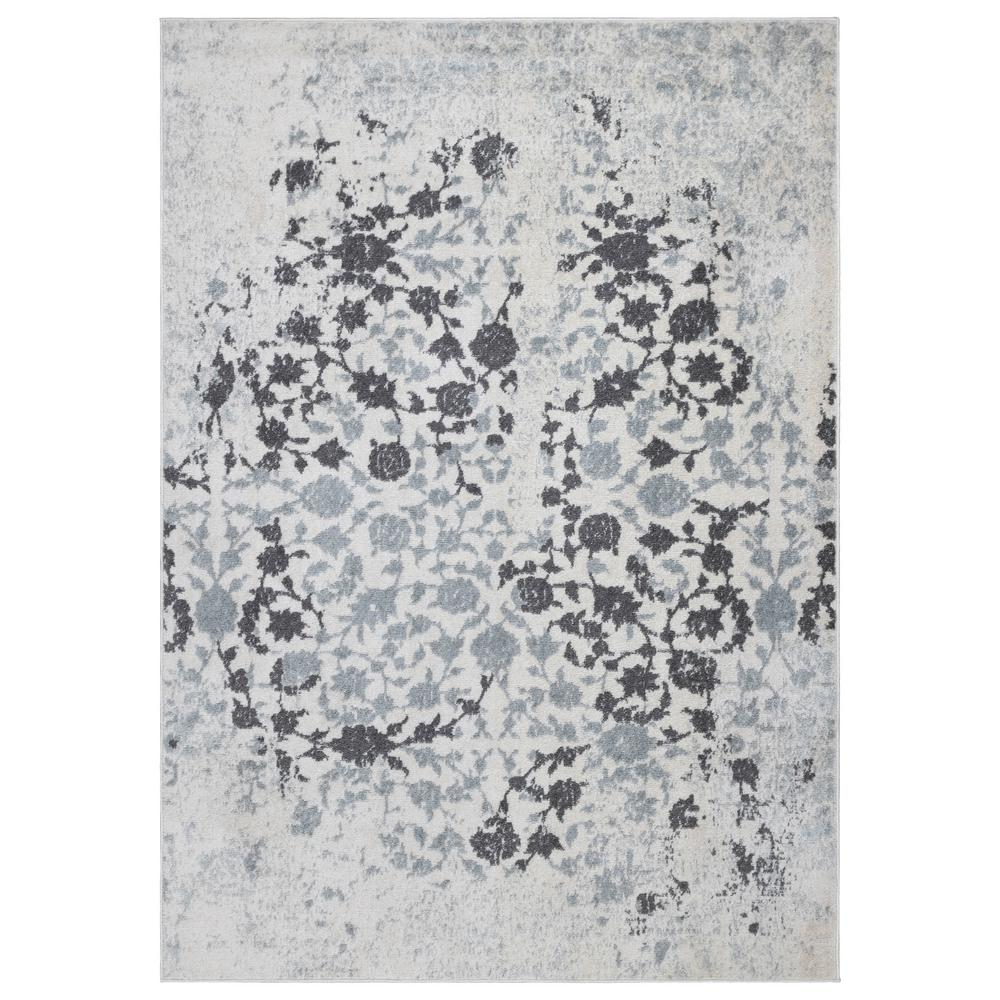 Ottomanson Rixos Collection Ivory / Grey 7 ft. 10 in. x 9 ft. 10 in. Modern Distressed-Look Floral Design Area Rug