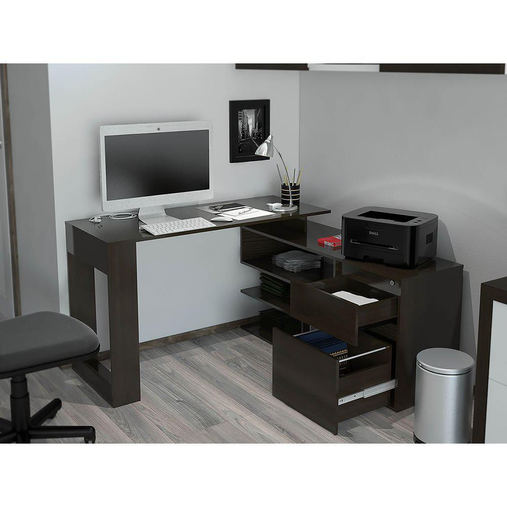 Alteza Espresso LShaped Desk with Lock Drawer and File Drawer